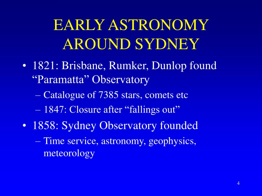 EARLY ASTRONOMY AROUND SYDNEY