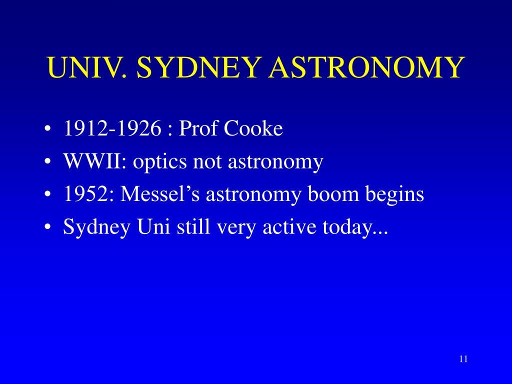 UNIV. SYDNEY ASTRONOMY