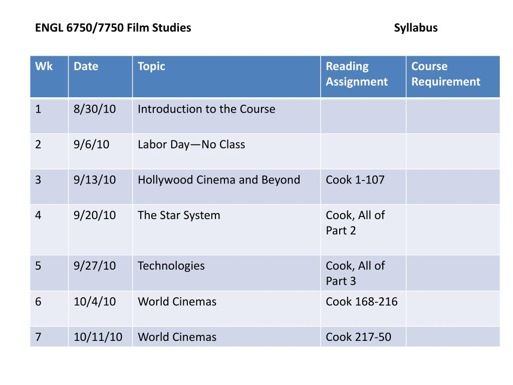ENGL 6750/7750 Film Studies				Syllabus