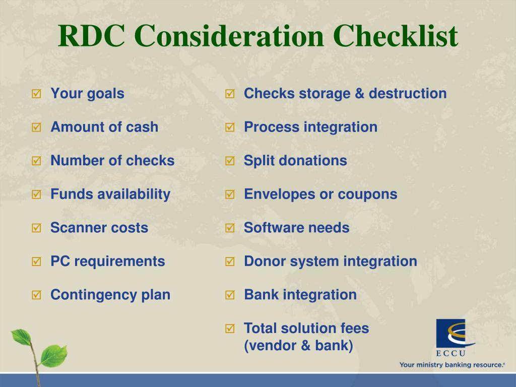 RDC Consideration Checklist