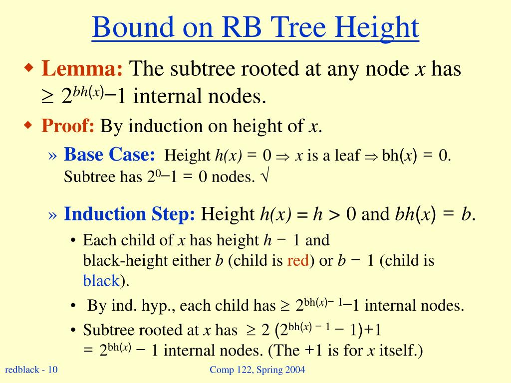 Bound on RB Tree Height
