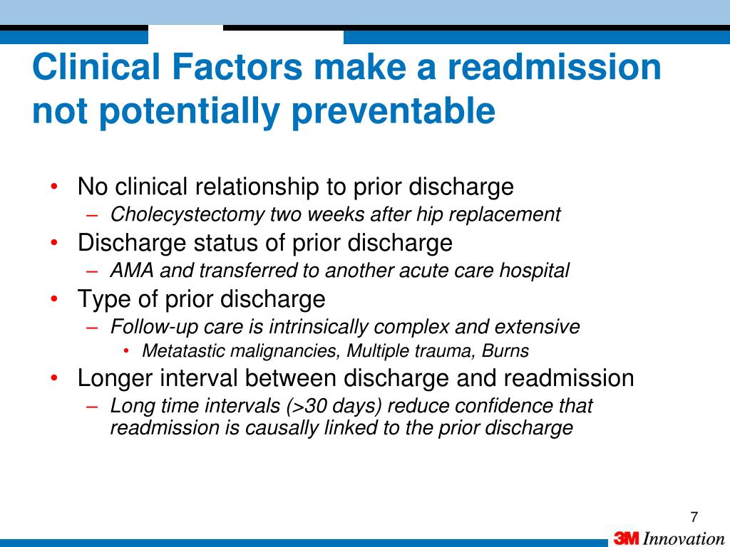 Clinical Factors make a readmission not potentially preventable