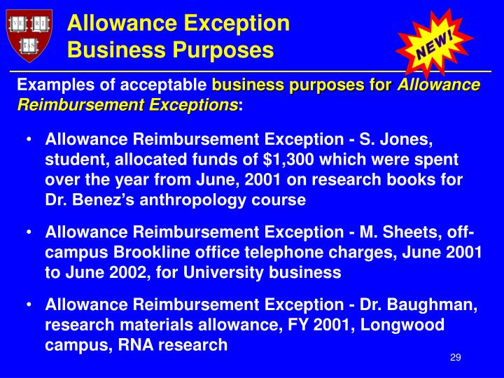 Allowance Exception