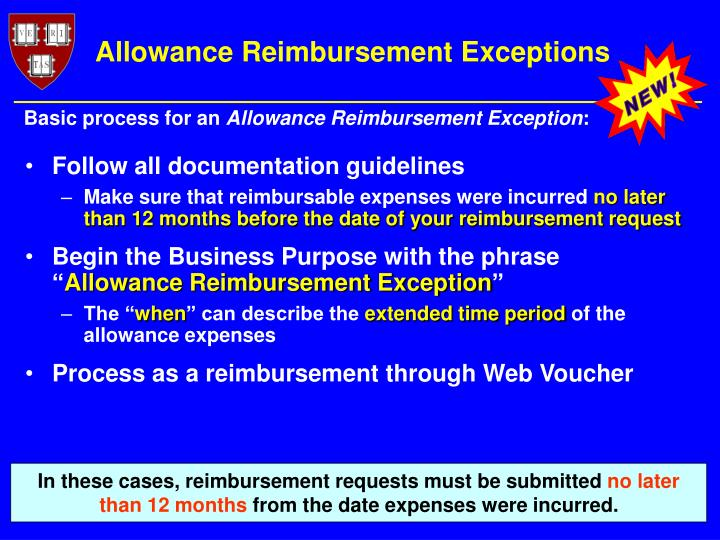 Allowance Reimbursement Exceptions