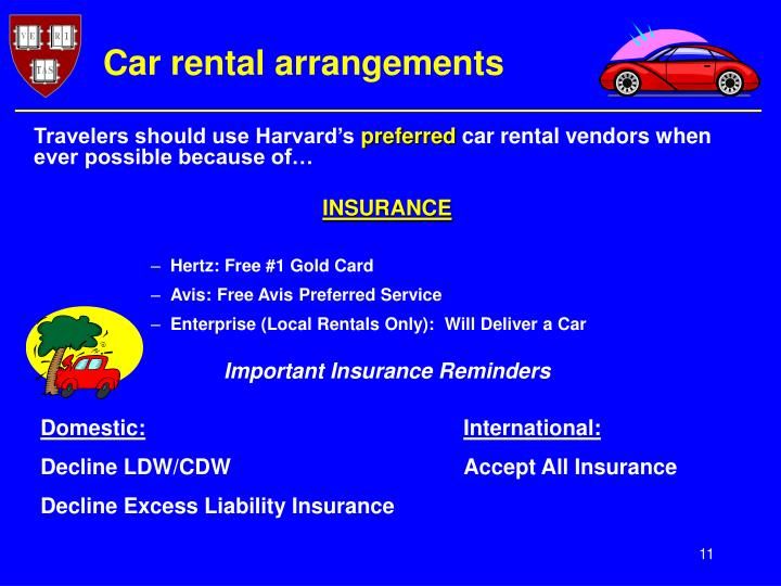 Car rental arrangements