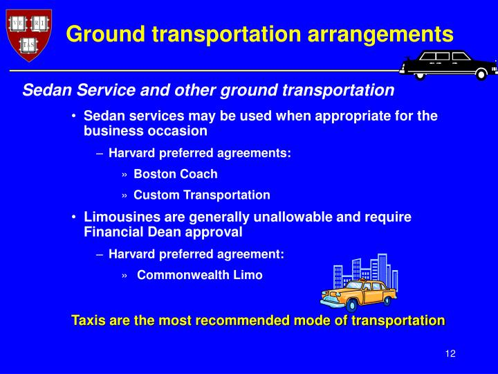 Ground transportation arrangements