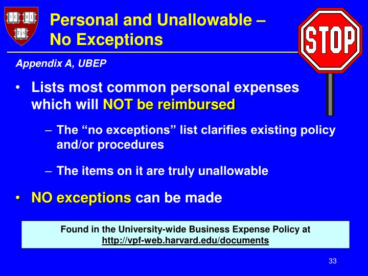 Personal and Unallowable –