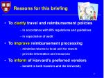 reasons for this briefing