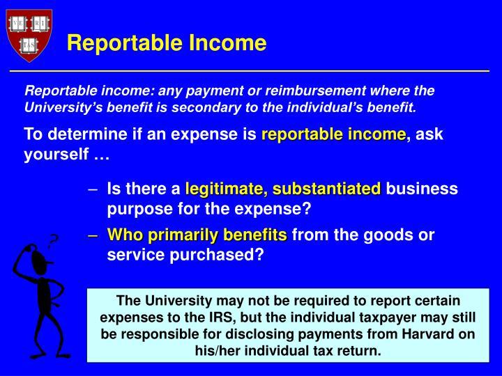 Reportable Income
