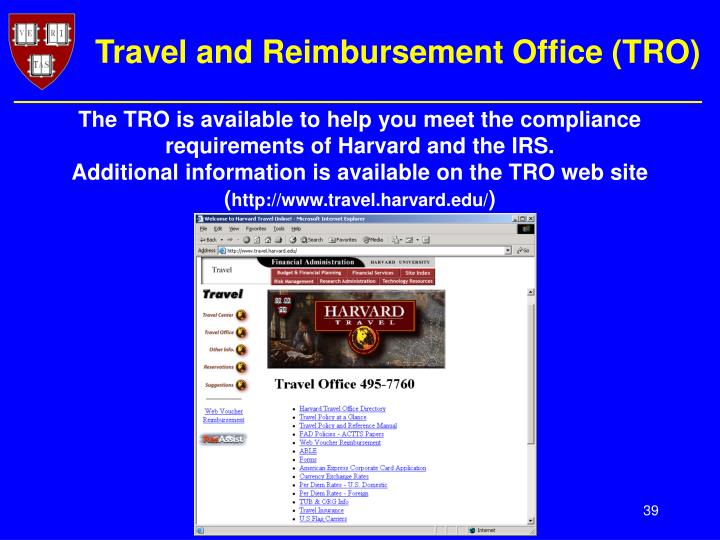 Travel and Reimbursement Office (TRO)
