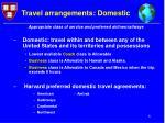 travel arrangements domestic