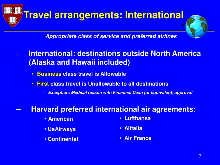 Travel arrangements: International