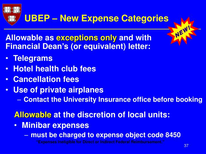 UBEP – New Expense Categories