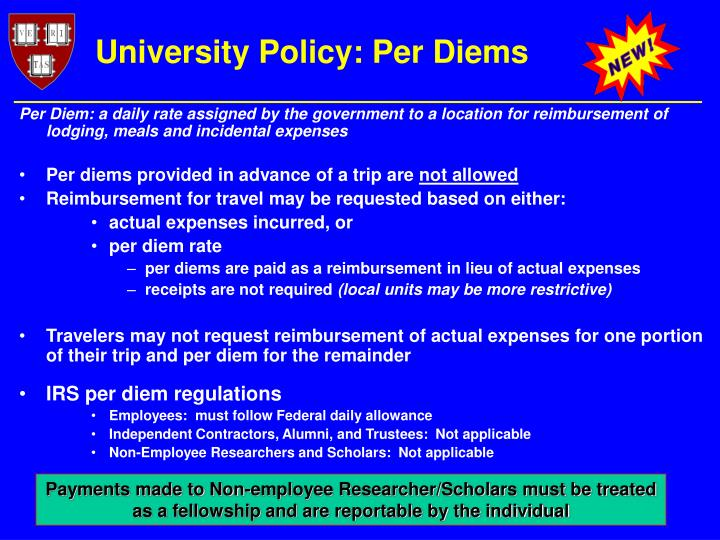 University Policy: Per Diems