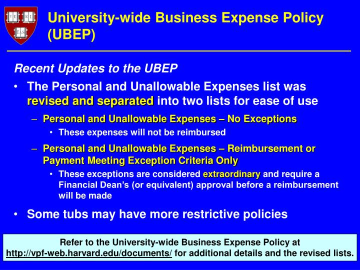 University-wide Business Expense Policy (UBEP)