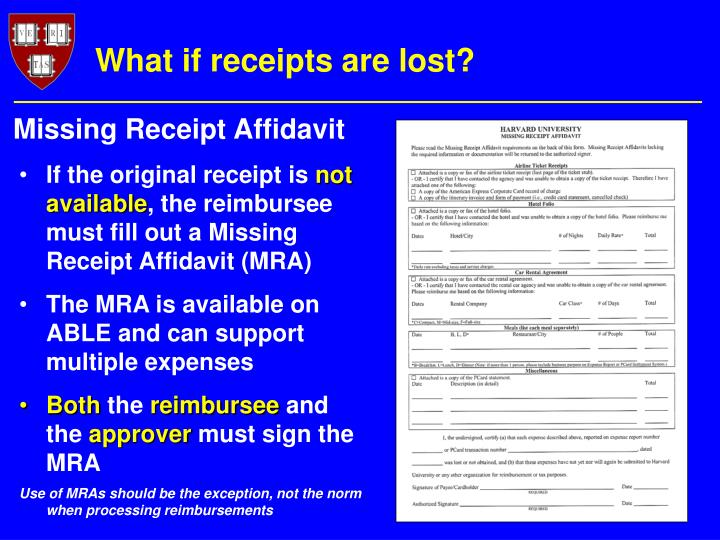 What if receipts are lost?
