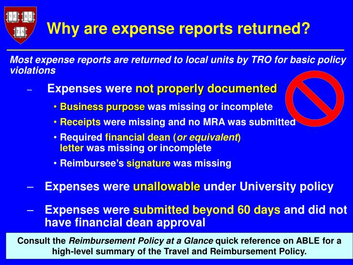 Why are expense reports returned?