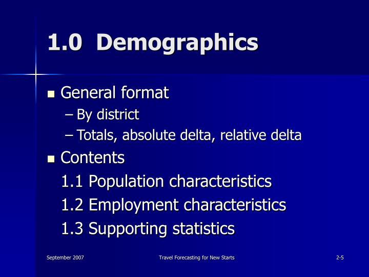 1.0  Demographics