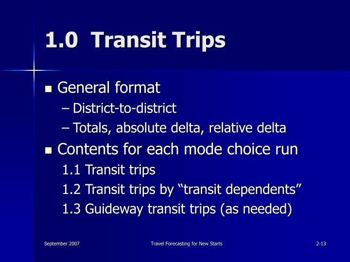 1.0  Transit Trips