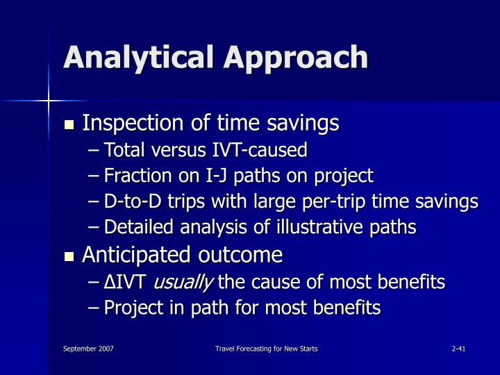 Analytical Approach