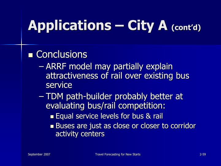 Applications – City A