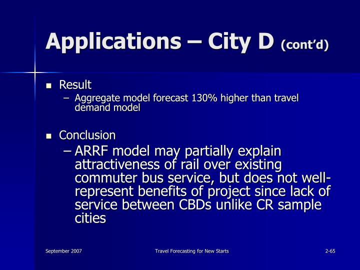 Applications – City D