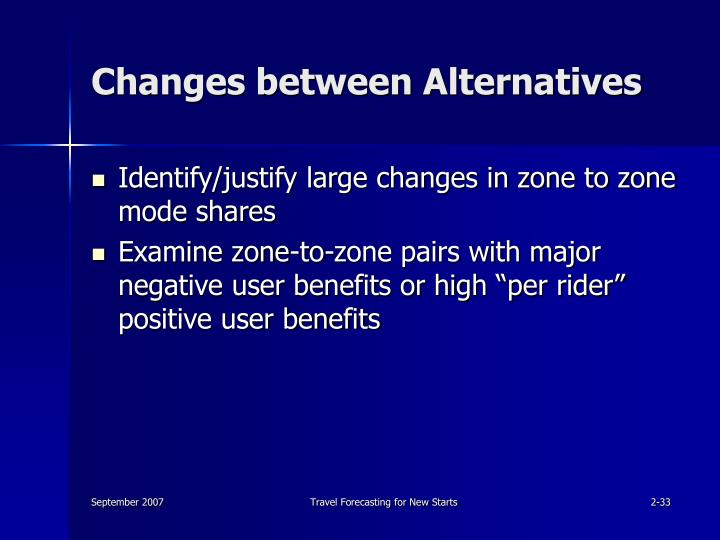 Changes between Alternatives