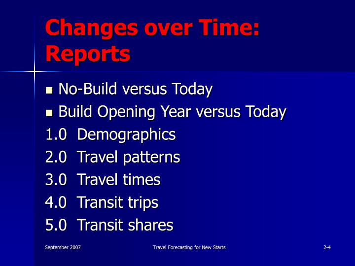 Changes over Time: