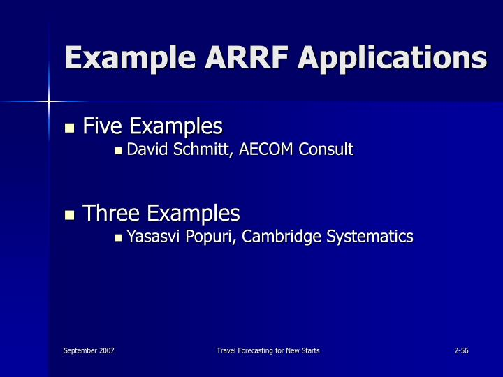 Example ARRF Applications