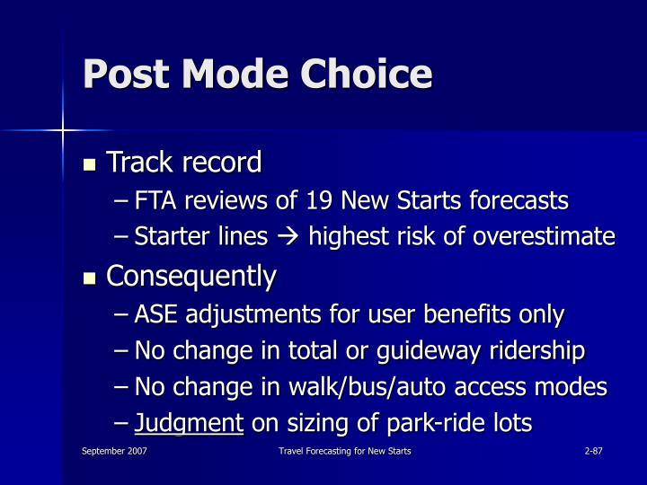 Post Mode Choice