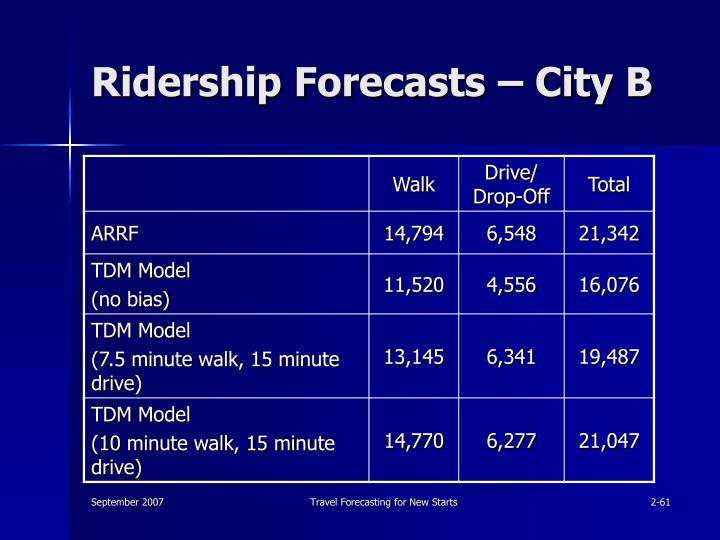 Ridership Forecasts – City B