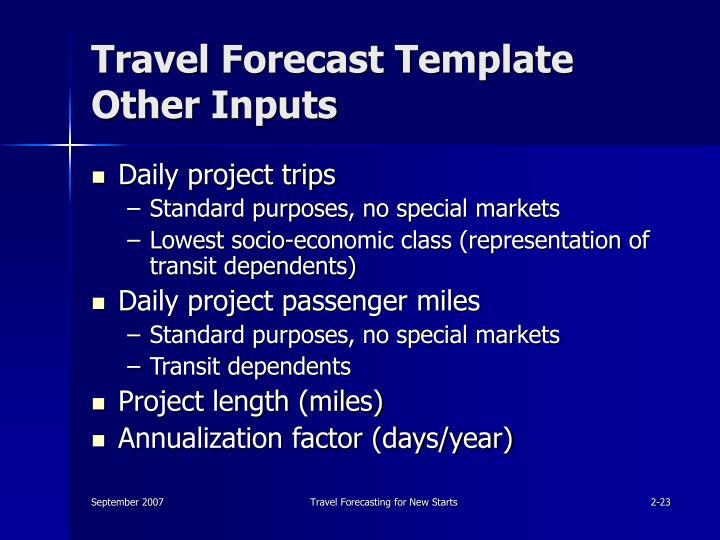Travel Forecast Template