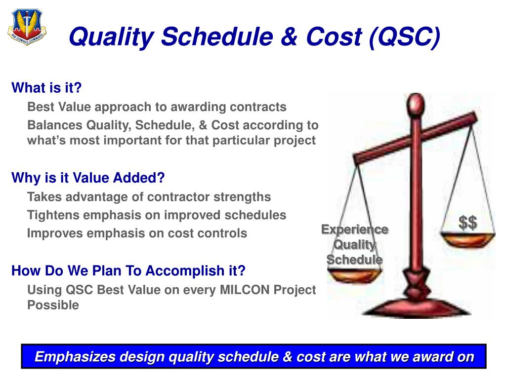 Quality Schedule & Cost (QSC)