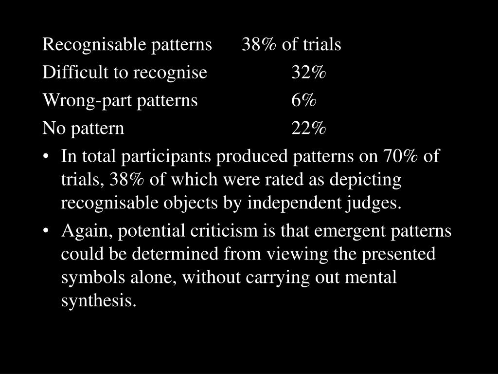 Recognisable patterns 38% of trials