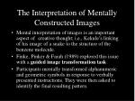 the interpretation of mentally constructed images