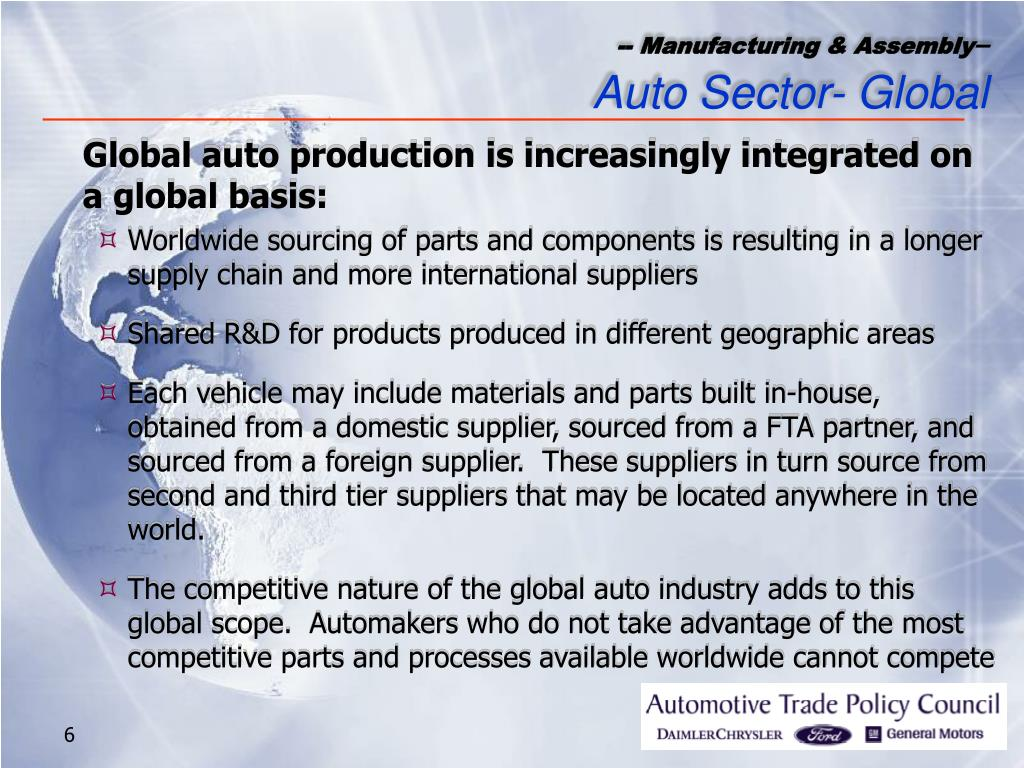 Global auto production is increasingly integrated on a global basis: