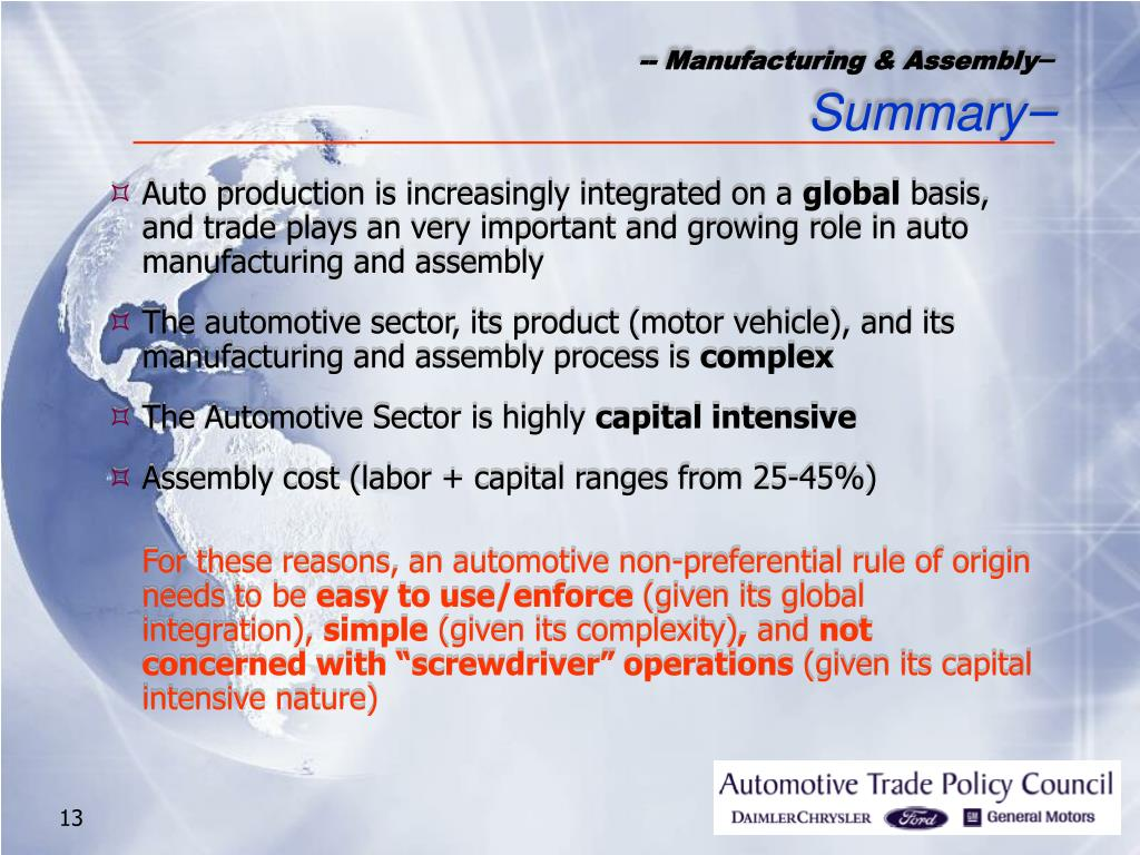 -- Manufacturing & Assembly