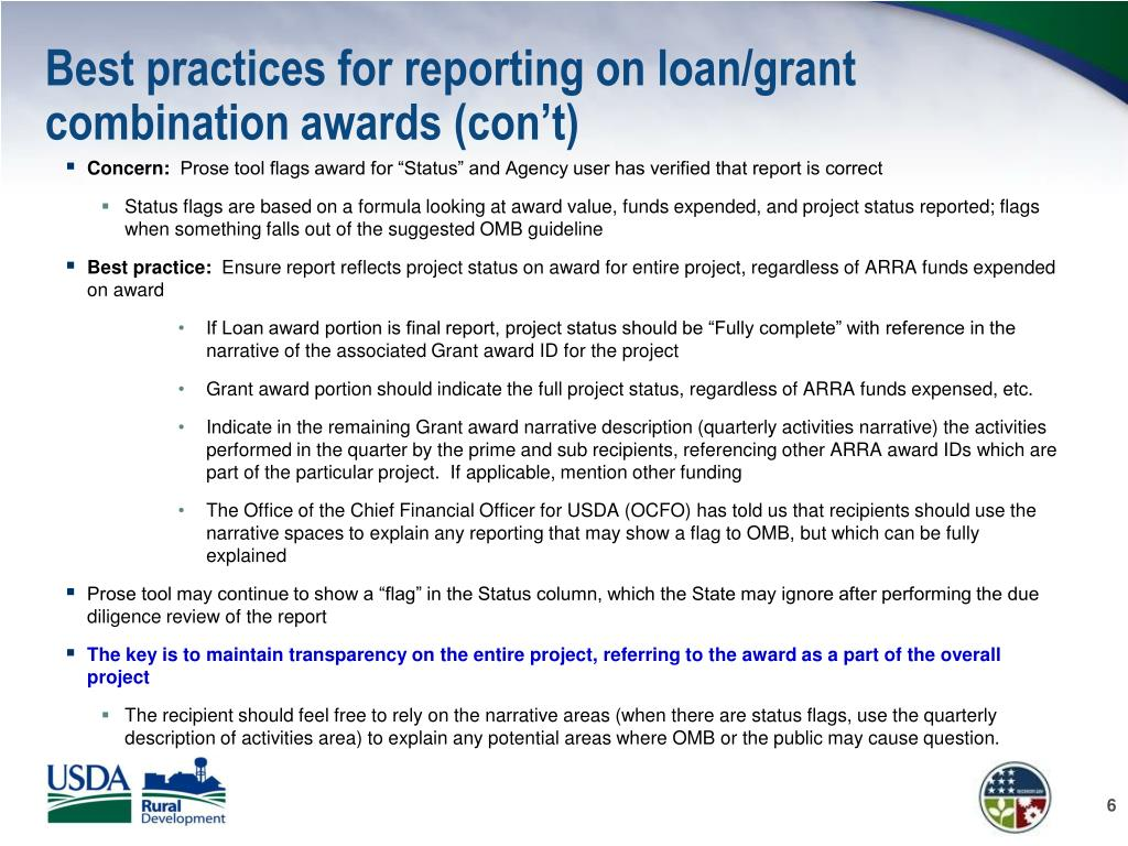 Best practices for reporting on loan/grant combination awards (con't)