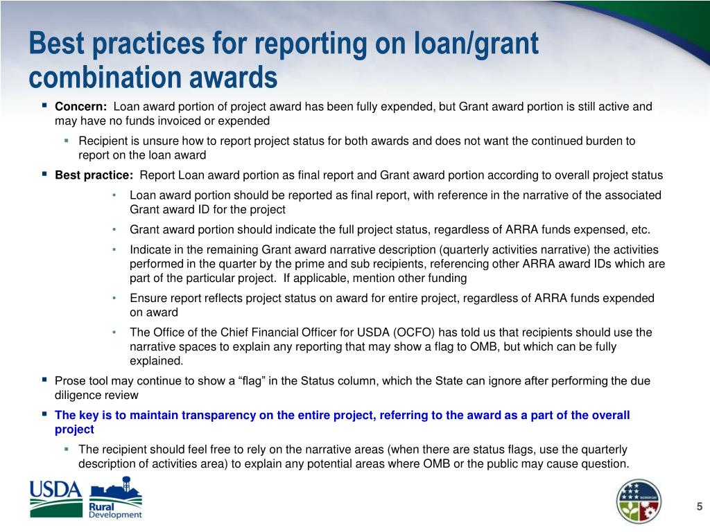 Best practices for reporting on loan/grant combination awards