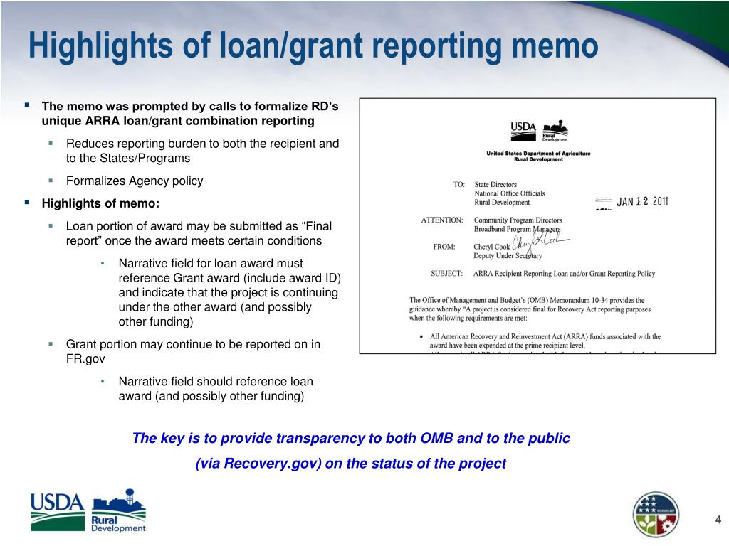 Highlights of loan/grant reporting memo