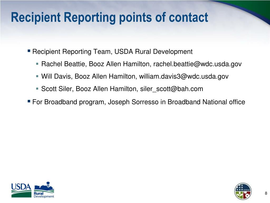 Recipient Reporting points of contact