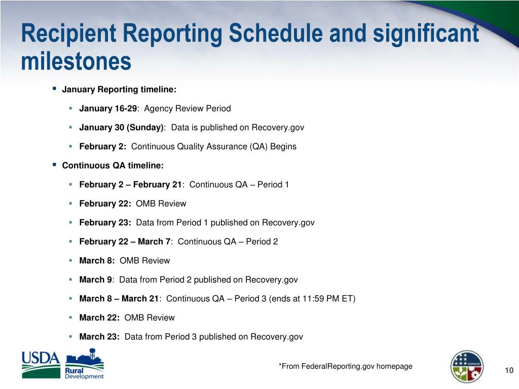 Recipient Reporting Schedule and significant milestones
