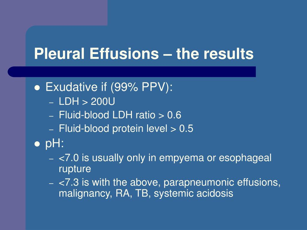 Pleural Effusions – the results