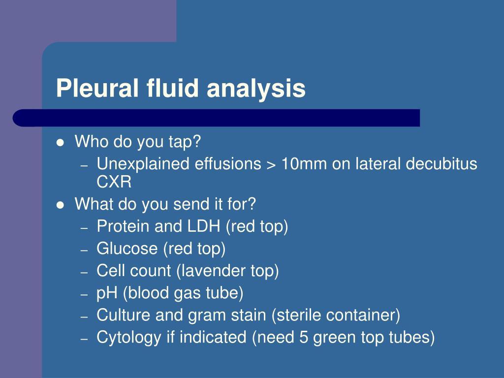 Pleural fluid analysis