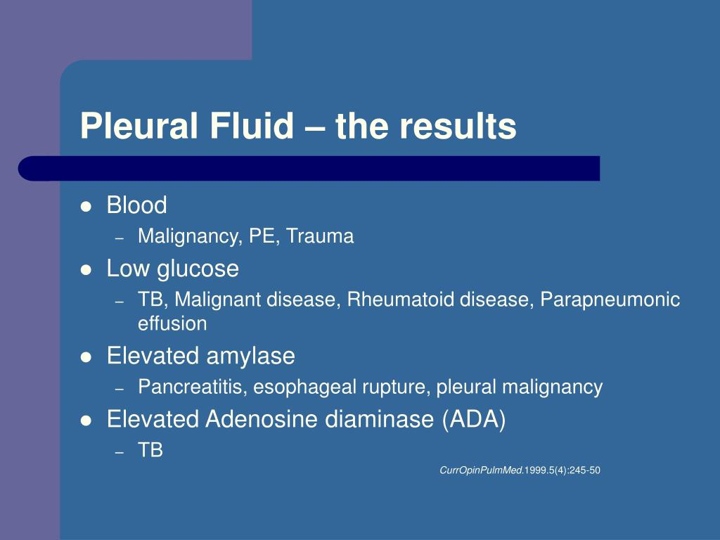 Pleural Fluid – the results