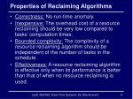 properties of reclaiming algorithms