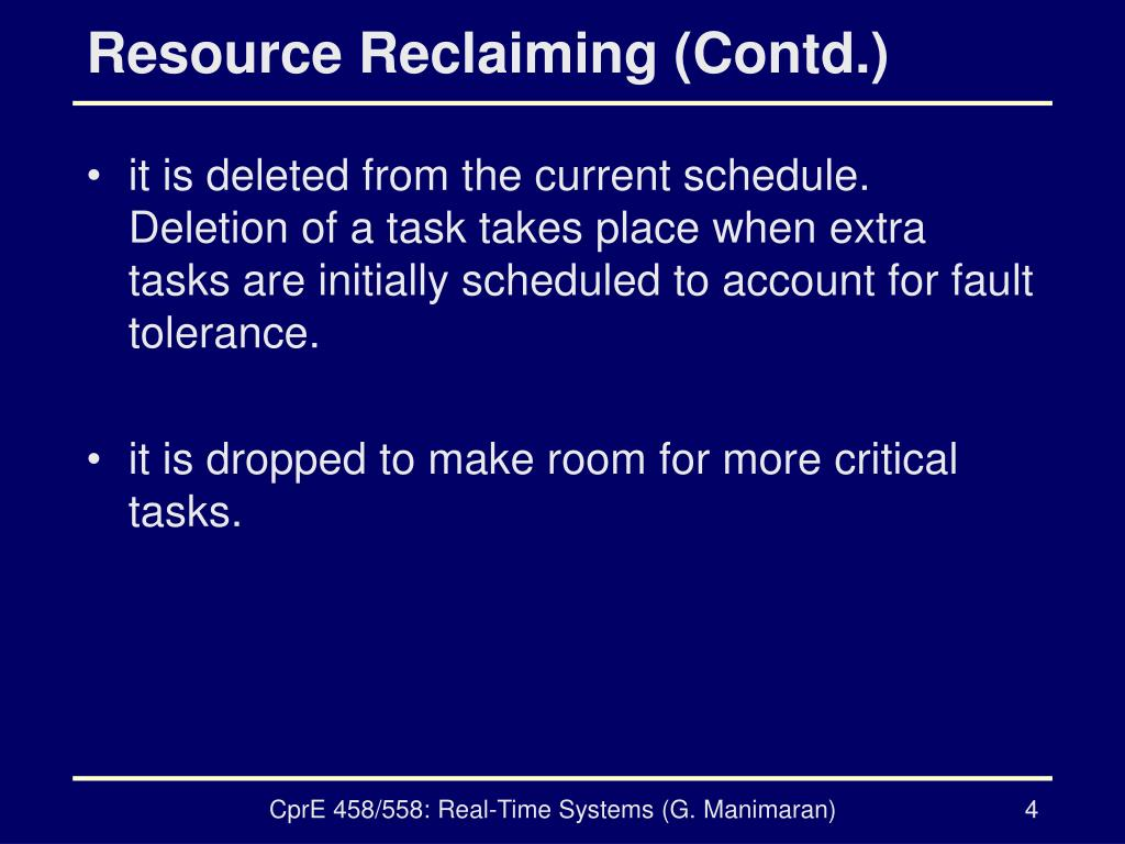 Resource Reclaiming (Contd.)