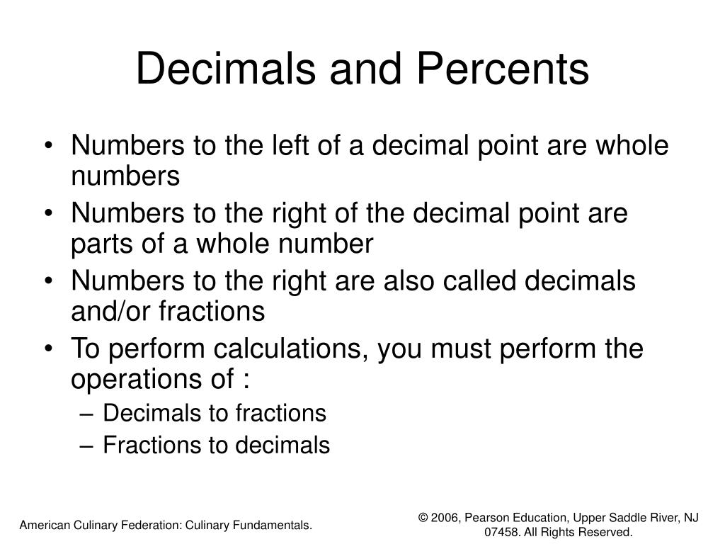 Decimals and Percents