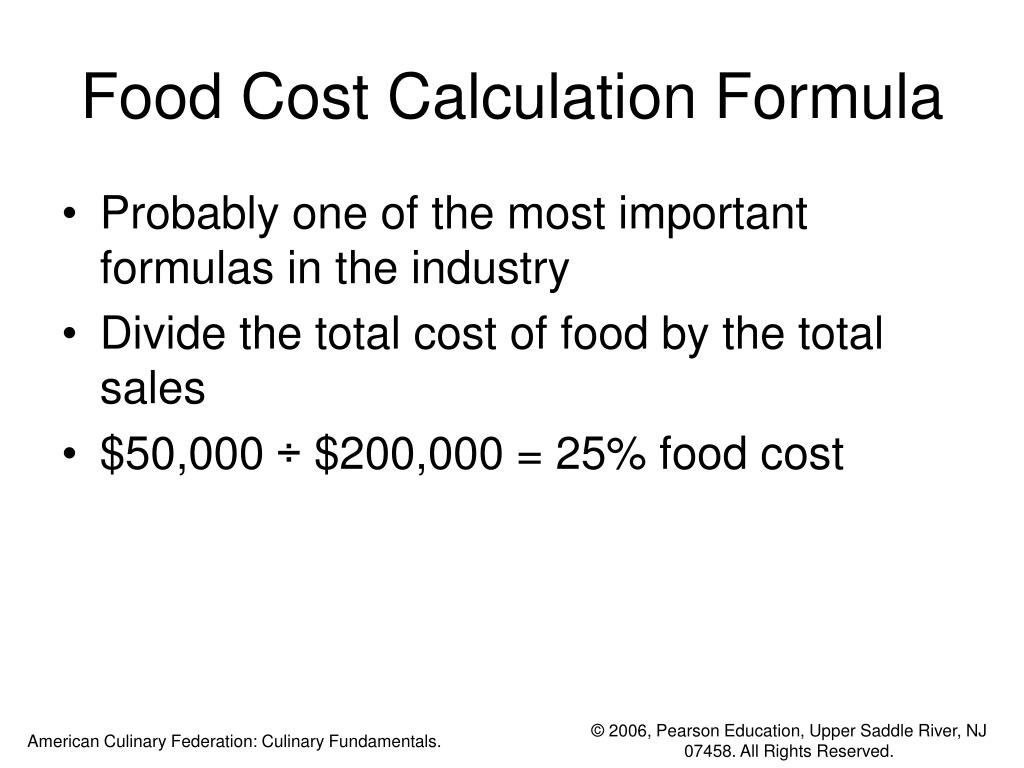 Food Cost Calculation Formula