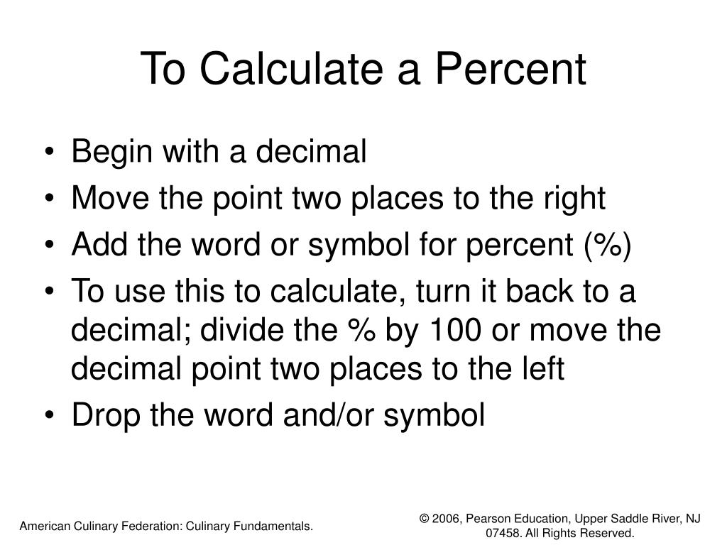 To Calculate a Percent